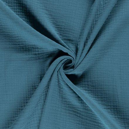 Tissu Triple gaze de coton Bleu pétrole - Par 10 cm