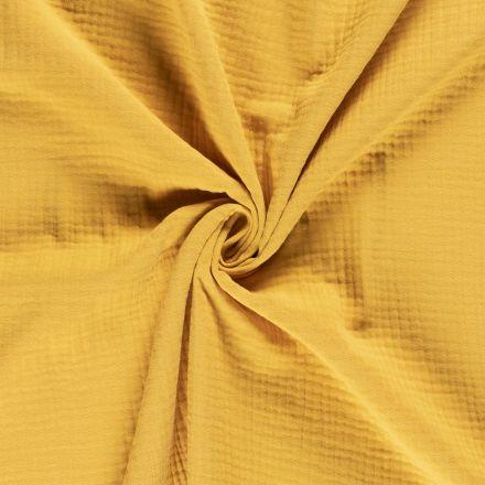 Tissu Triple gaze de coton Jaune moutarde - Par 10 cm