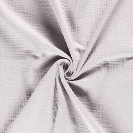 Tissu Triple gaze de coton Gris clair - Par 10 cm