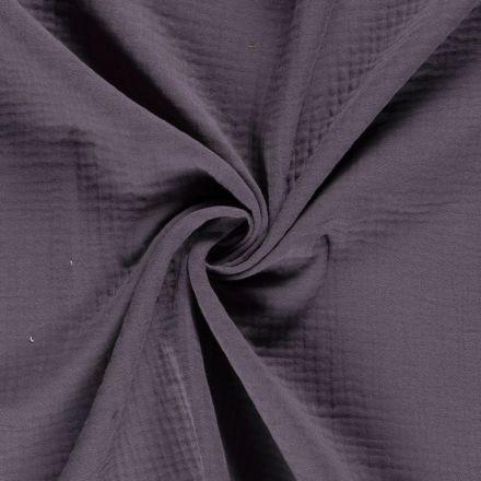 Tissu Triple gaze de coton Gris anthracite - Par 10 cm