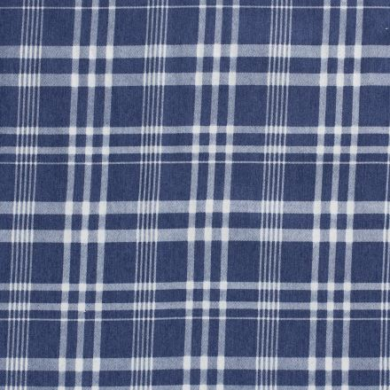Tissu Jean Écossais  sur fond Bleu denim - Par 10 cm