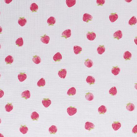 Tissu Double gaze de coton Fraises sur fond Gris clair - Par 10 cm