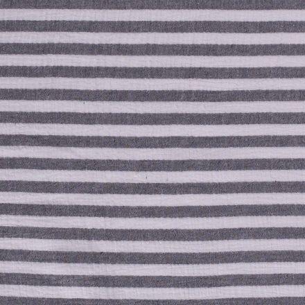 Tissu Double gaze Rayures grises sur fond Blanc - Par 10 cm