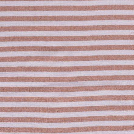 Tissu Double gaze Rayures saumon sur fond Blanc - Par 10 cm