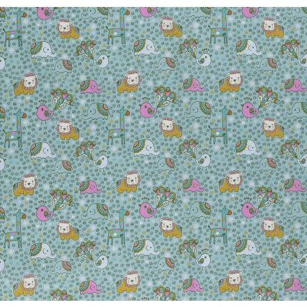 Tissu Coton imprimé LittleBird Animaux enfantins et ciel de fleurs sur fond Vert menthe - Par 10 cm