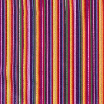 Tissu Jacquard Mexicain rayé multicolore sur fond Rouge - Par 10 cm