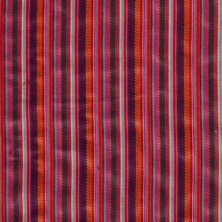 Tissu Jacquard Mexicain rayures zigzag sur fond Rose - Par 10 cm