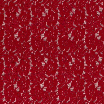 Tissu Dentelle Julia Fleuris sur fond Rouge - Par 10 cm