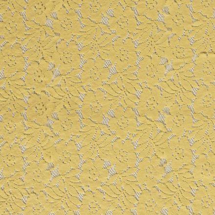 Tissu Dentelle Julia Fleuris sur fond Jaune - Par 10 cm