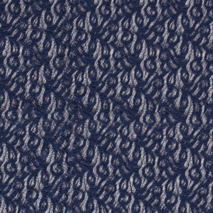 Tissu Dentelle Olga arabesque Bleu indigo - Par 10 cm