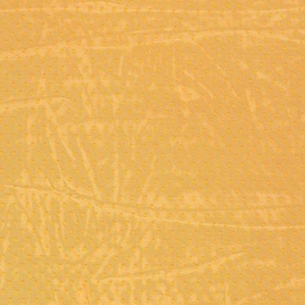 Tissu Tulle souple à pois Pois sur fond Jaune curcuma - Par 10 cm