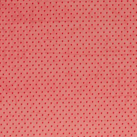 Tissu Tulle souple à pois Pois sur fond Rouge - Par 10 cm