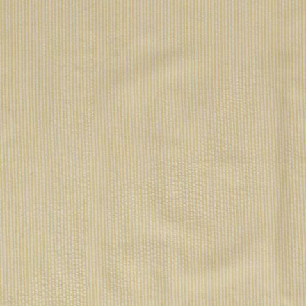 Tissu Seersucker Rayé jaune citron sur fond Blanc - Par 10 cm