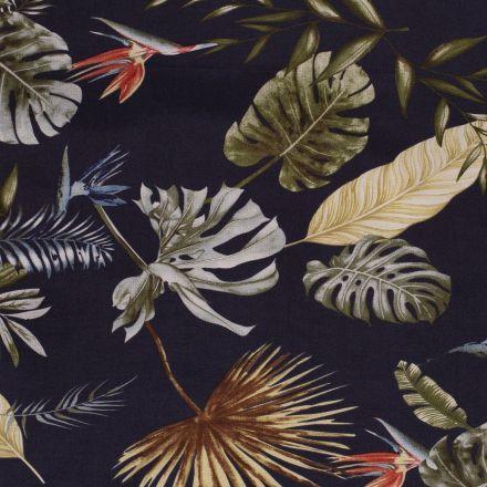 Tissu Bengaline satiné Fleurs de strelitzia et feuillages sur fond Bleu marine - Par 10 cm
