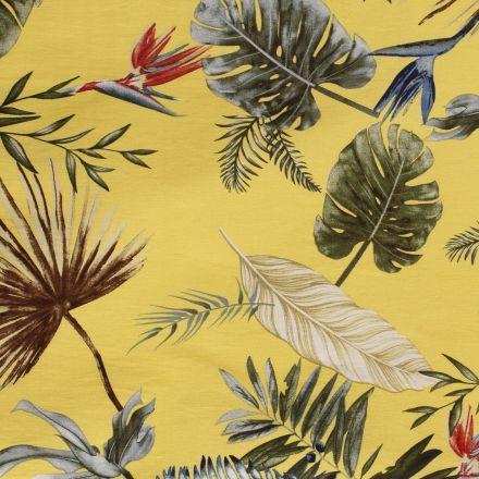 Tissu Bengaline satiné Fleurs de strelitzia et feuillages sur fond Jaune - Par 10 cm