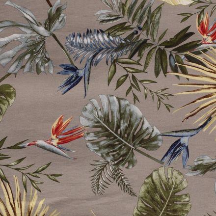 Tissu Bengaline satiné Fleurs de strelitzia et feuillages sur fond Beige - Par 10 cm