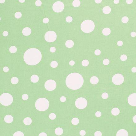 Tissu  Mousseline Pois blanc différentes tailles sur fond Vert - Par 10 cm