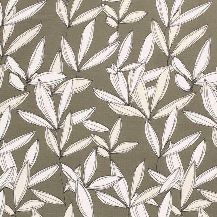 Tissu Mousseline feuilles écru sur fond Vert kaki - Par 10 cm