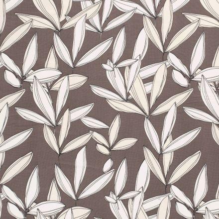 Tissu Mousseline feuilles écru sur fond Gris foncé - Par 10 cm