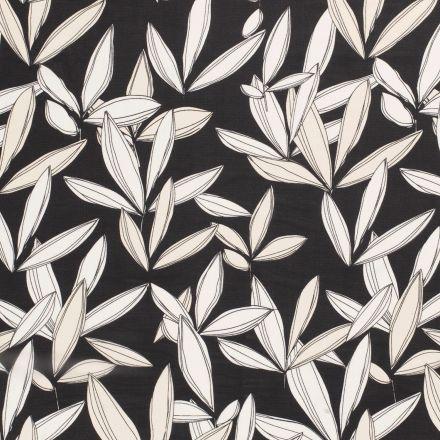 Tissu Mousseline feuilles écru sur fond Noir - Par 10 cm