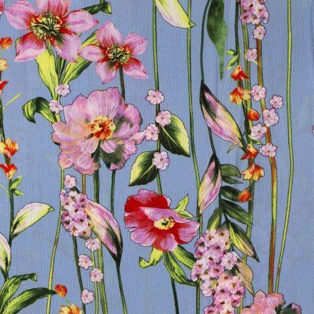 Tissu Crêpe georgette  Lianes de fleurs sur fond Bleu - Par 10 cm