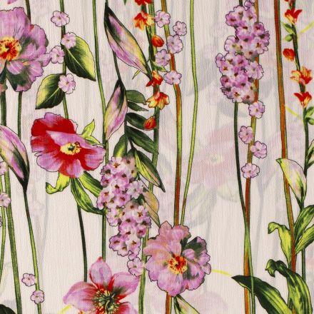 Tissu Crêpe georgette  Lianes de fleurs sur fond Blanc - Par 10 cm
