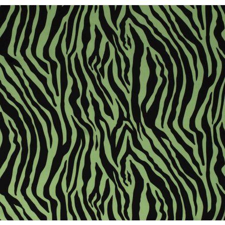 Tissu Jersey Polyester épais Zébré noir sur fond Vert - Par 10 cm