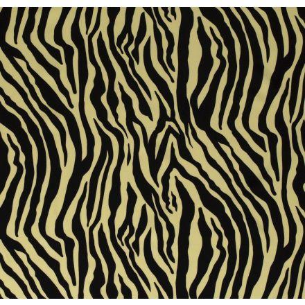 Tissu Jersey Polyester épais Zébré noir sur fond Jaune - Par 10 cm