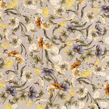 Tissu Crêpe lisse Fleurs des champs colorées sur fond Gris clair - Par 10 cm