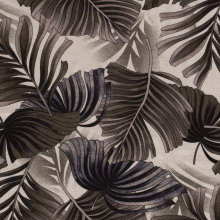Tissu Jersey Viscose Lin Grandes feuilles grises sur fond Blanc - Par 10 cm