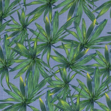 Tissu Viscose extensible aspect lin Feuilles de palmier sur fond Bleu - Par 10 cm