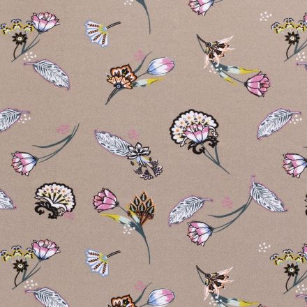 Tissu Jersey Viscose avec aspect crêpe Fleurs diverses sur fond Taupe - Par 10 cm