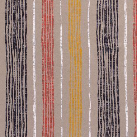 Tissu Jersey Viscose avec aspect crêpe Rayures colorés sur fond Taupe - Par 10 cm