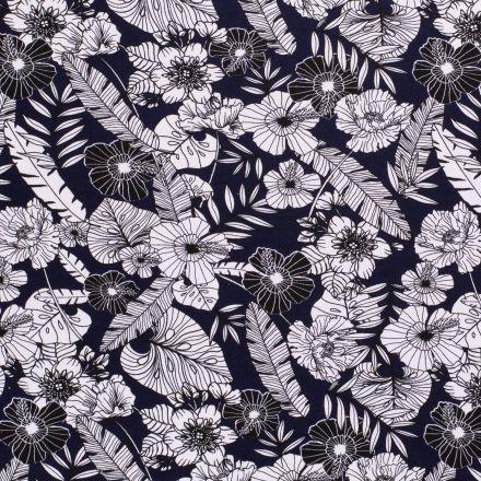 Tissu Jersey Viscose avec aspect crêpe Feuillages et fleurs blanches et noires sur fond Bleu marine - Par 10 cm
