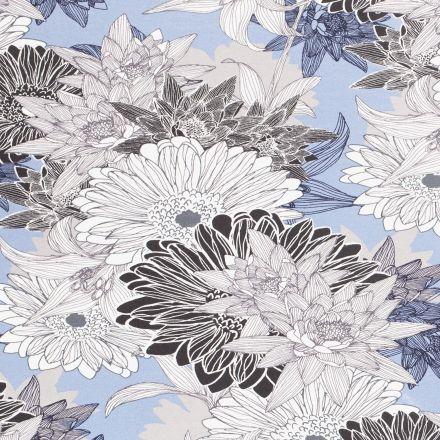 Tissu Jersey viscose  Grandes fleurs de nénuphar blanches et noires sur fond Bleu ciel - Par 10 cm