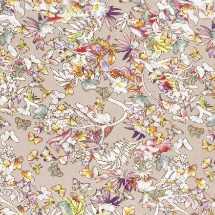Tissu Jersey Viscose Papillons fleuris sur fond Taupe - Par 10 cm