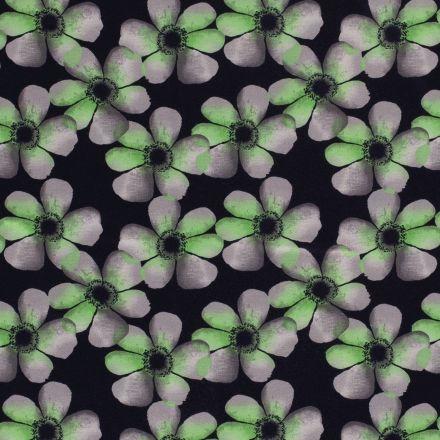 Tissu Jersey Viscose  Fleurs grises et vertes sur fond Bleu marine - Par 10 cm