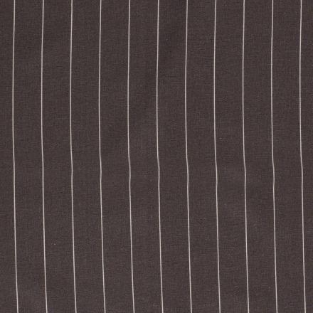 Tissu Viscose Lin Rayé sur fond Gris - Par 10 cm