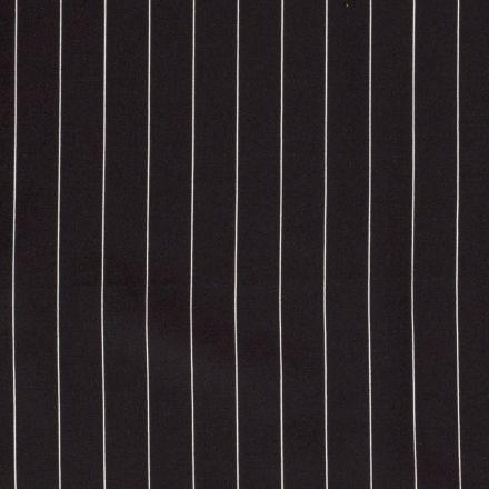 Tissu Viscose Lin Rayé sur fond Noir - Par 10 cm