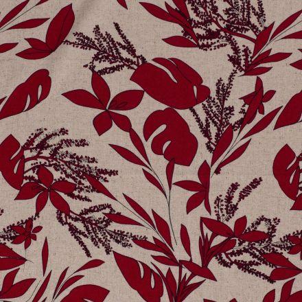 Tissu Viscose lin Poivré rouge sur fond Naturel - Par 10 cm