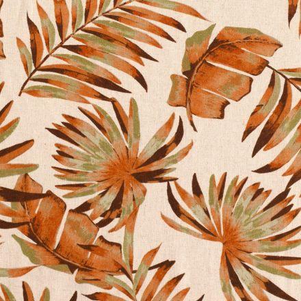 Tissu Viscose lin feuillages exotiques  orange et verts sur fond Naturel - Par 10 cm