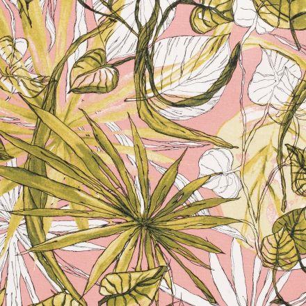 Tissu Viscose lin Lianes et feuillages  sur fond Rose saumon - Par 10 cm