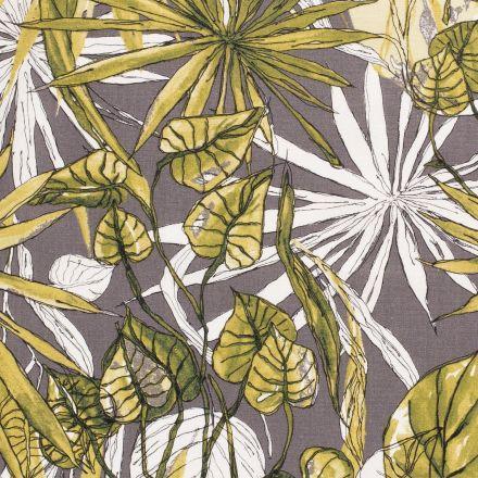 Tissu Viscose lin Lianes et feuillages sur fond Gris pierre - Par 10 cm