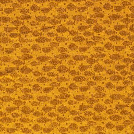 Tissu Jersey Velours Eponge Poissons et pois sur fond Moutarde - Par 10 cm