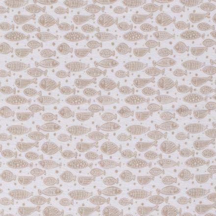 Tissu Jersey Velours Eponge Poissons et pois sur fond Blanc - Par 10 cm