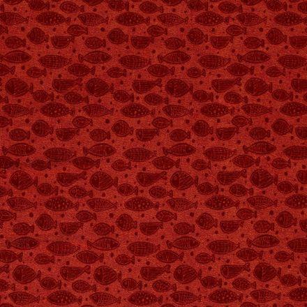 Tissu Jersey Velours Eponge Poissons et pois sur fond Brique - Par 10 cm