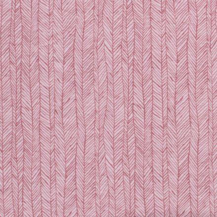 Tissu Jersey Velours Eponge Flèches géométriques sur fond Rose - Par 10 cm