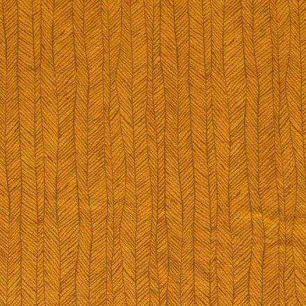 Tissu Jersey Velours Eponge Flèches géométriques sur fond Moutarde - Par 10 cm