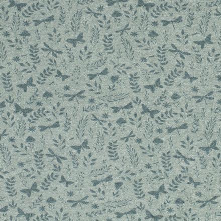 Tissu Jersey Velours Eponge Libellules papillons et feuilles sur fond Vert menthe - Par 10 cm