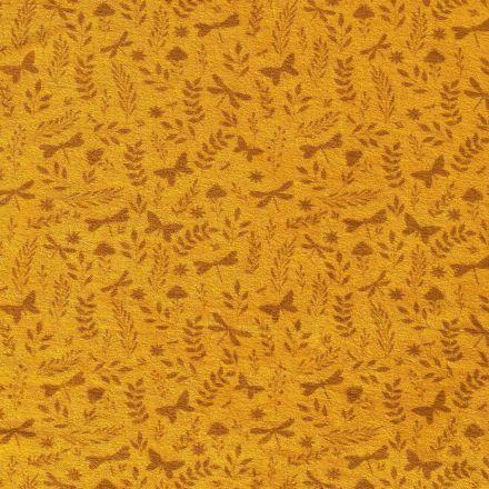 Tissu Jersey Velours Eponge Libellules papillons et feuilles sur fond Moutarde - Par 10 cm